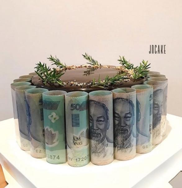Bánh kem hình ảnh sinh nhật bằng tiền Việt Nam mới nhất