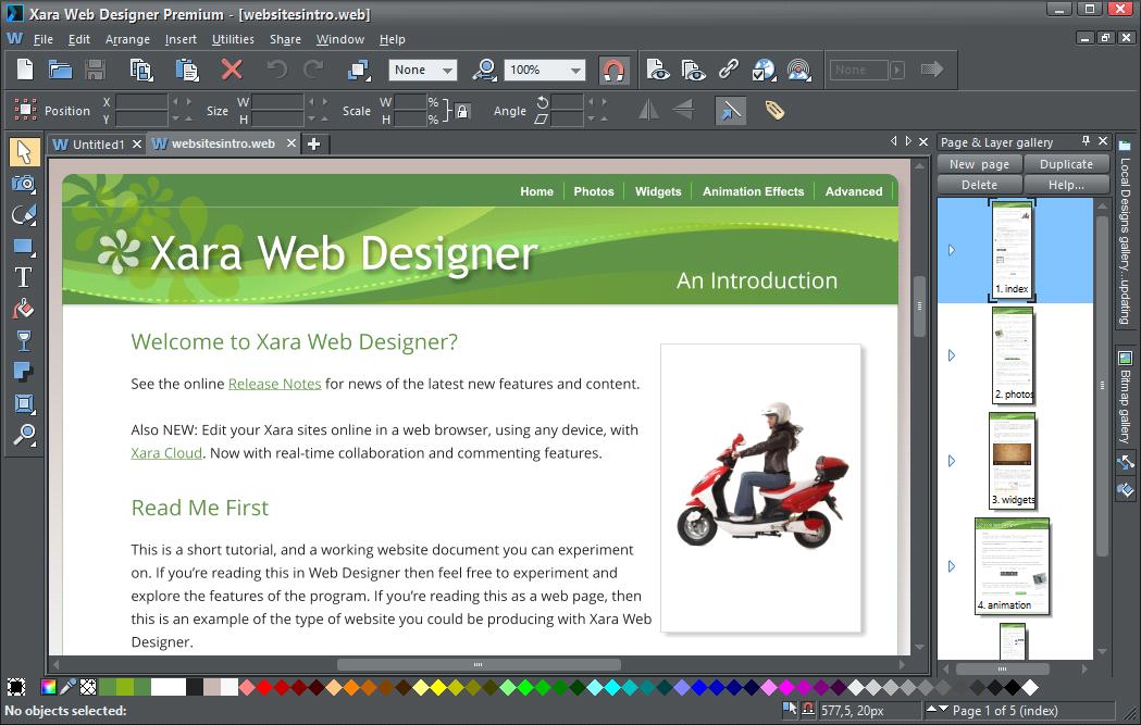Phần mềm tạo trang web Xara Web Designer Premium