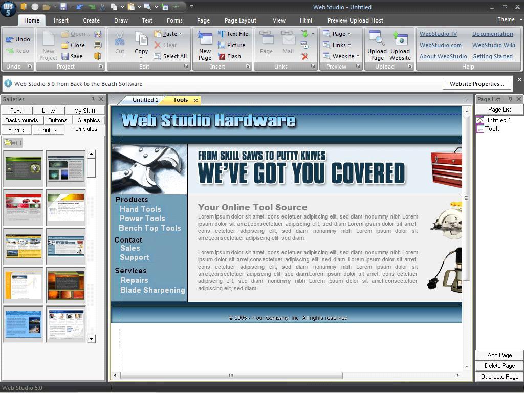 Web Studio phần mềm tạo website