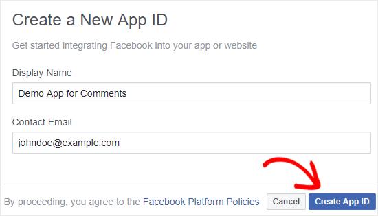 Điền thông tin để tạo app