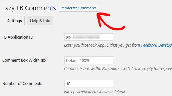 Chọn Moderate Facebook để sử dụng plugin comment wordpress
