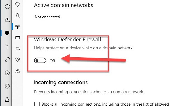 Kéo off tại mục Windows Defender Firewall