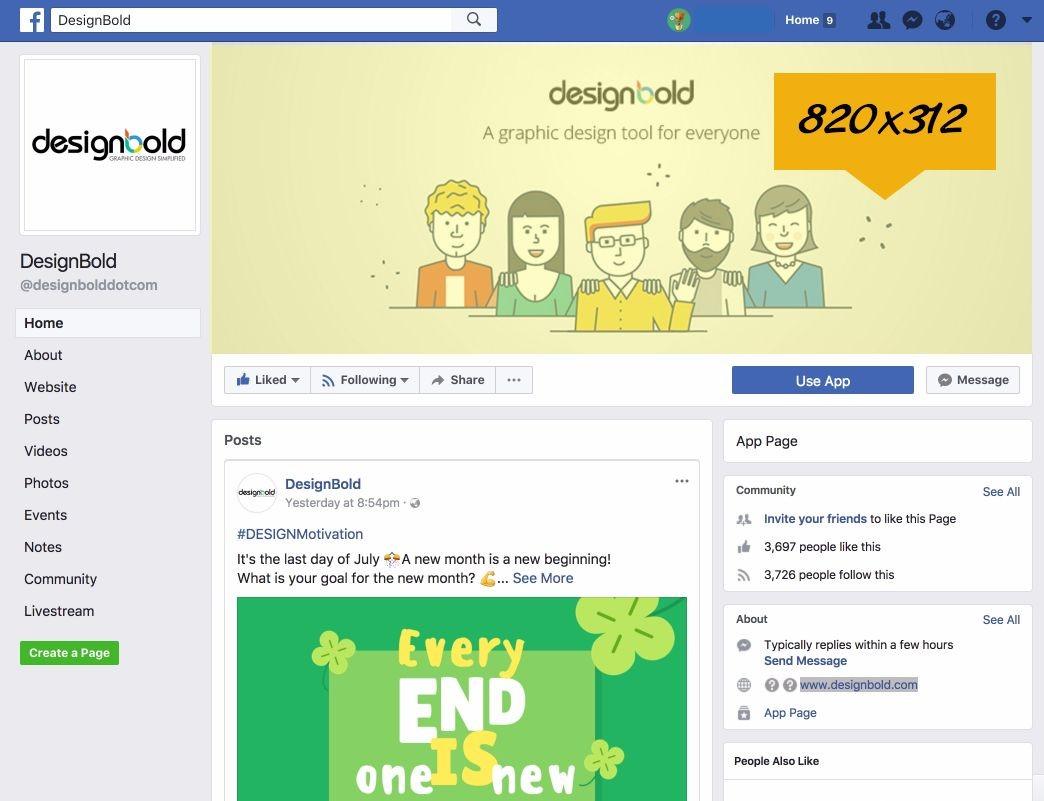 Kích thước banner facebook là 820 x 312