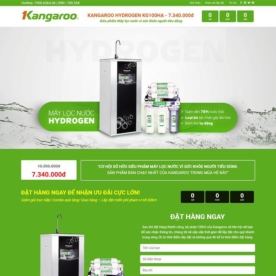 Kangaroo là mẫu landing page bán hàng đẹp