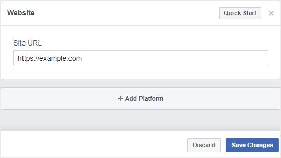 Nhập địa chỉ website của bạn để sử dụng plugin comment facebook wordpress