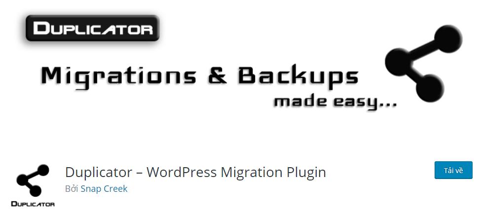 Sử dụng plugin Duplicator là cách backup website wordpress tốt nhất