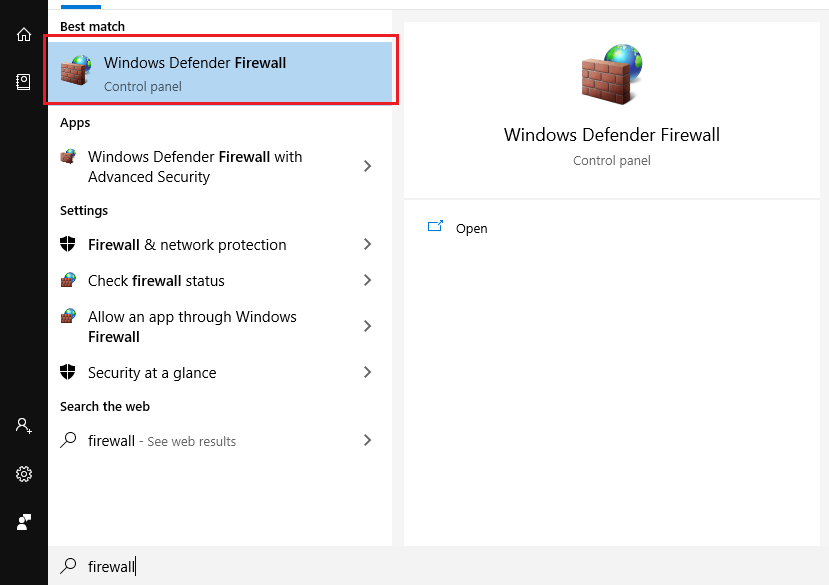 Search từ khóa Firewall để mở Windows Firewall