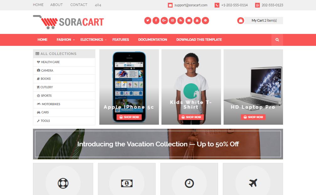 Template blogspot bán hàng chuyên nghiệp free SoraCart