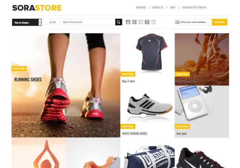 Template blogspot free Sora Store