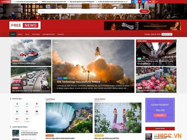 Theme tin tức đẹp cho wordpress Free News