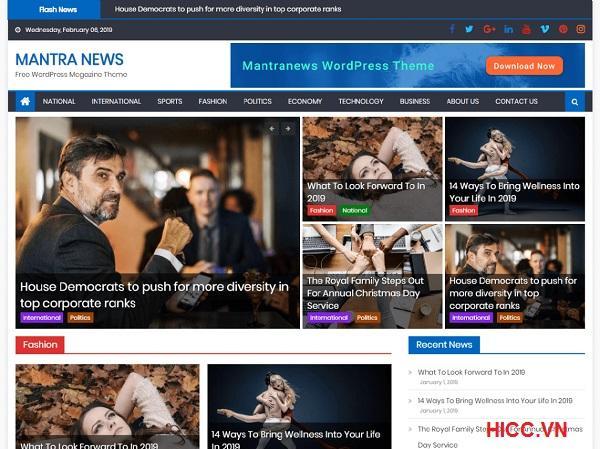 Theme tin tức wordpress cực đẹp Mantra News