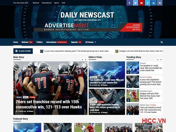 Theme wordpress tin tức đẹp miễn phí Daily Newscast