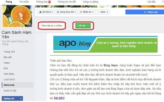 View tab as a visitor để xem Landing Page hoặc edit để sửa