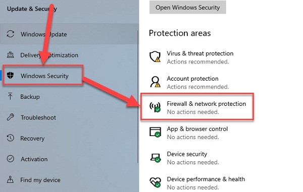 Windows Security - rồi chọn mục Firewall & network protection