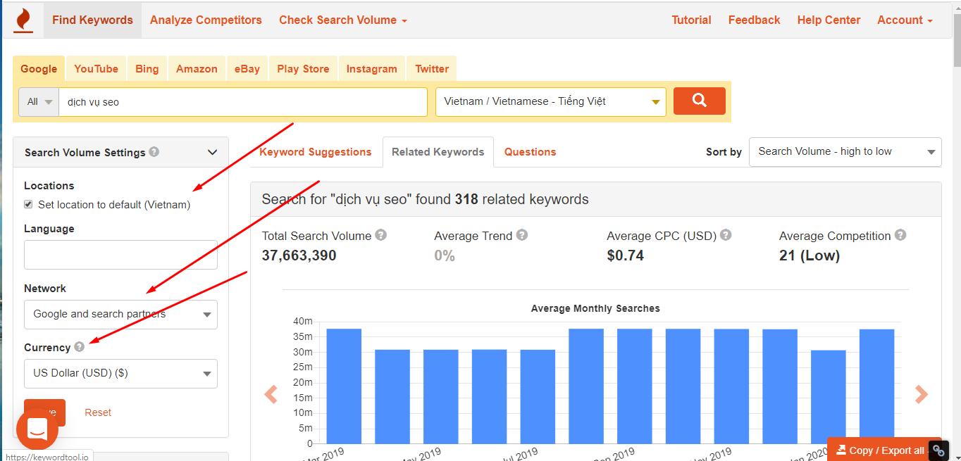 Tìm kiếm từ khóa với keywords tool io bản trả phí