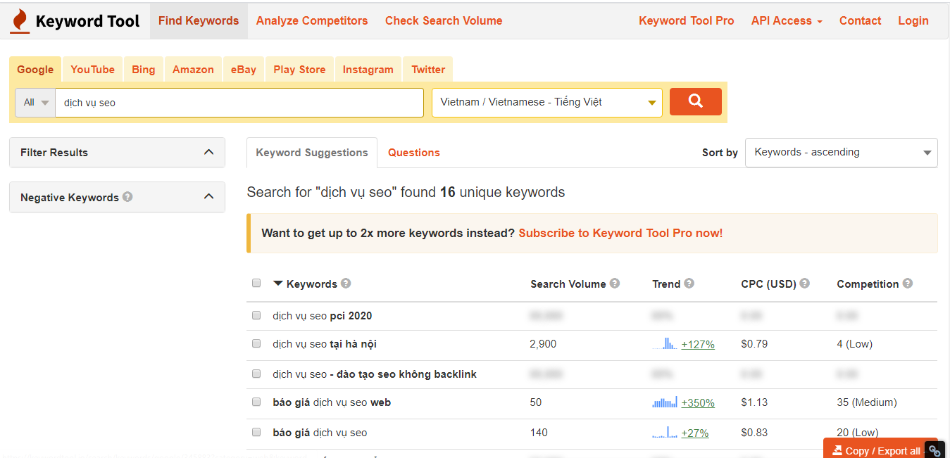Tìm kiếm từ khóa với keywordtool io bản miễn phí