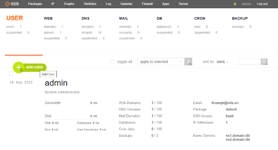 Giao diện của menu chức năng