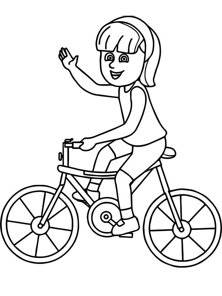 Tranh vẽ bé đạp xe